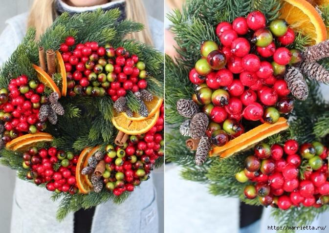 Рождественские венки из природных материалов (4) (673x477, 311Kb)