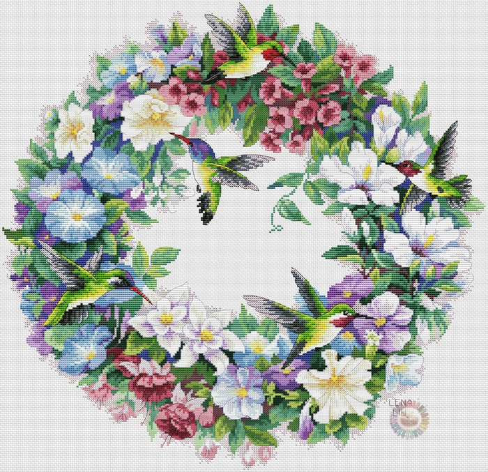 Hummingbird Wreath (700x677, 659Kb)