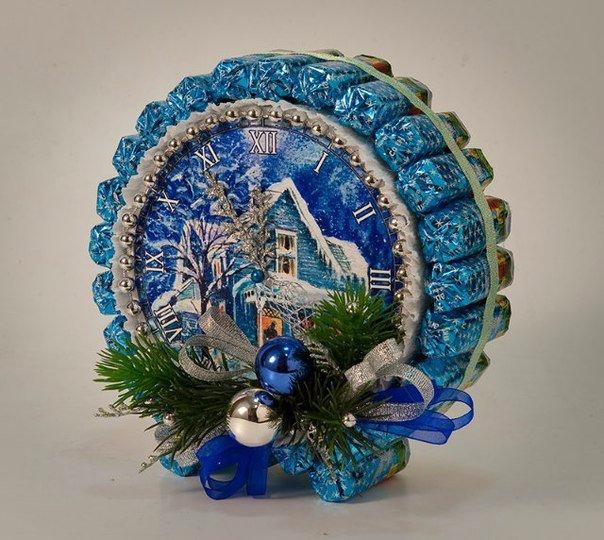 новогодние часы из конфет (604x540, 319Kb)
