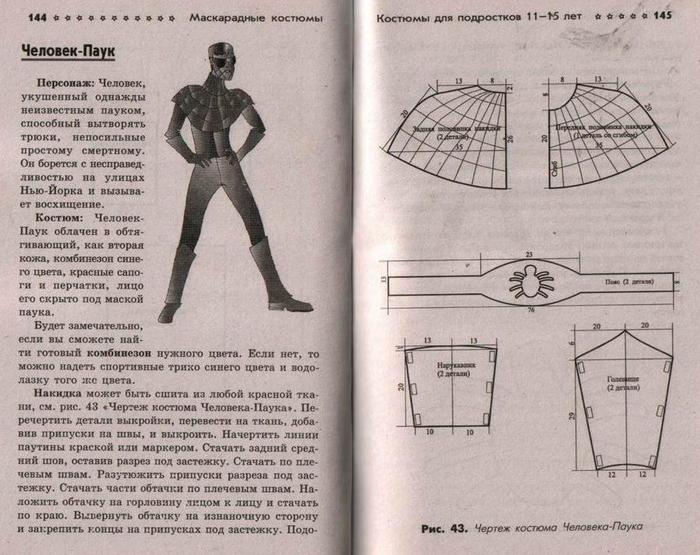 Выкройка костюм человека паука