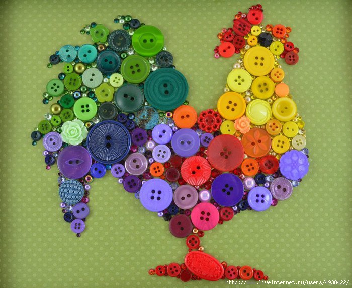 钮扣可以做什么?:17、公鸡装饰画 - maomao - 我随心动