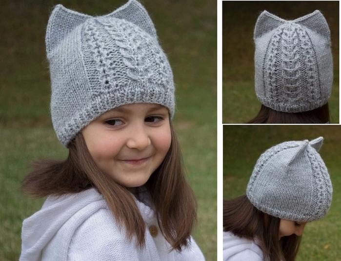 Вяжем спицами шапочку для девочки с ушками 155