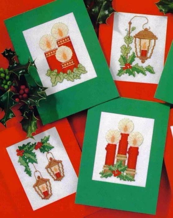 Вышивка крестиком. Рождественские открытки (556x699, 316Kb)