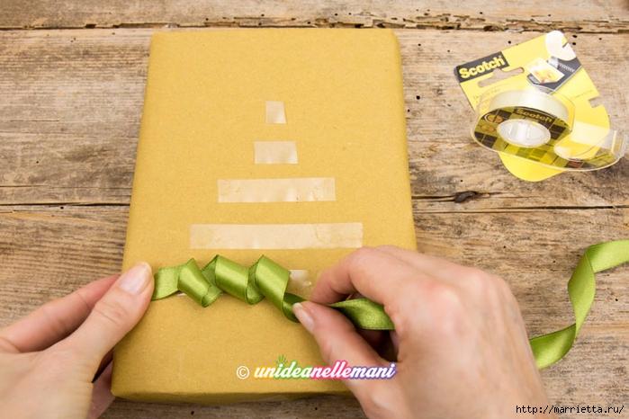 Елочка из ленточек. Оригинальная упаковка подарка (1) (700x466, 253Kb)