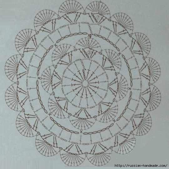 Салфетки - подстаканники крючком. Схема (3) (540x539, 117Kb)