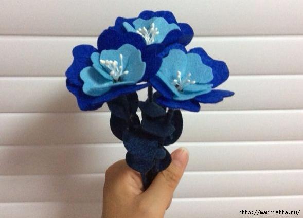 Букетик синих цветов из фетра (13) (589x424, 110Kb)
