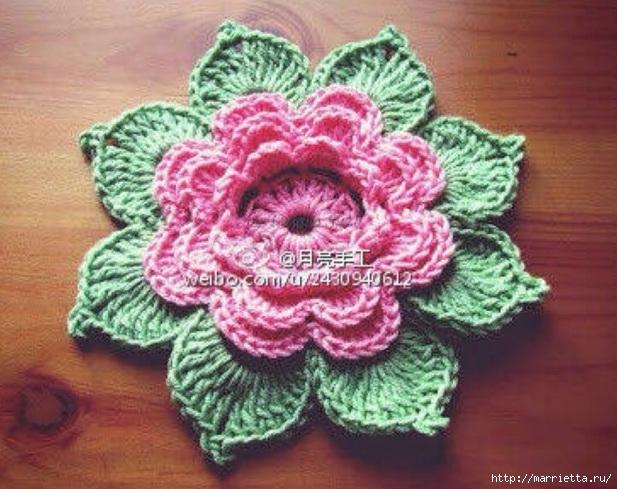 Цветок ПИОНА. Вяжем крючком (617x489, 223Kb)