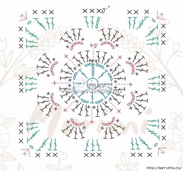 Подушка крючком из квадратов с цветами (7) (636x593, 208Kb)