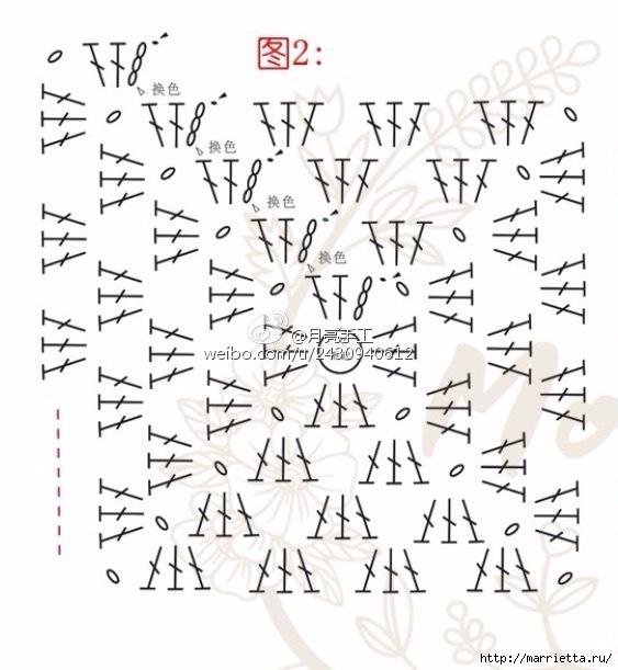 Подушка крючком из квадратов с цветами (9) (563x611, 169Kb)