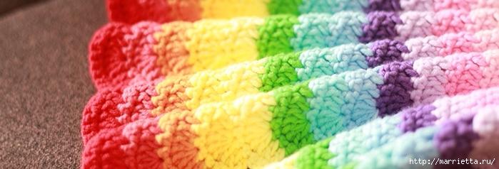 Волнистый разноцветный узор крючком для пледа (7) (700x238, 145Kb)