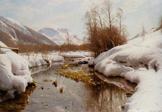 Заснеженный берег реки (Snedaekket Flodbred). 1915 (654x451, 297Kb)