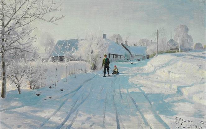 Manhã de inverno com geada na estrada para Vallensbaek. 1927 (663x417, 255Kb)