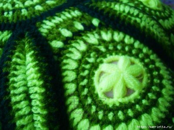 Панцирь черепахи - подушка крючком из круглых мотивов (7) (593x445, 155Kb)