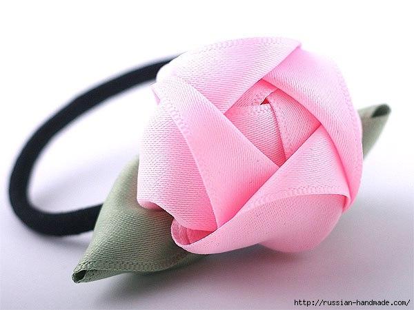 Резинка для волос с розой из атласа (9) (600x450, 124Kb)