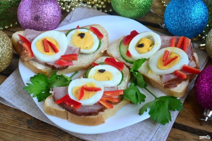 Вкусные бутерброды новый год