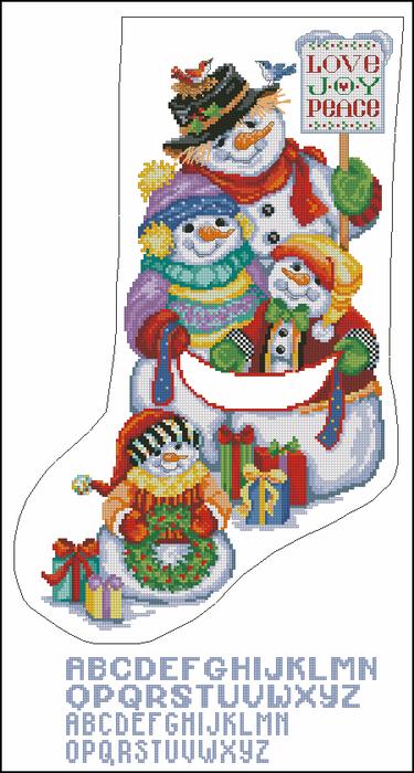 Snow Folks Stocking (375x700, 300Kb)