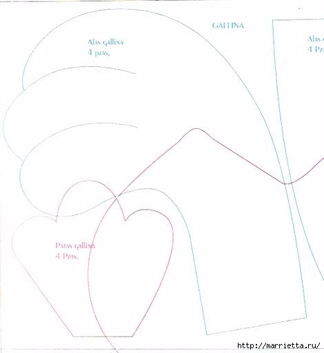 Шьем петушков и курочек. Много идей и выкроек (38) (470x512, 59Kb)