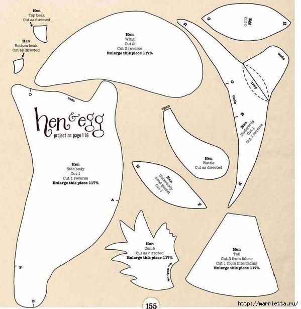 Шьем петушков и курочек. Много идей и выкроек (66) (599x615, 190Kb)