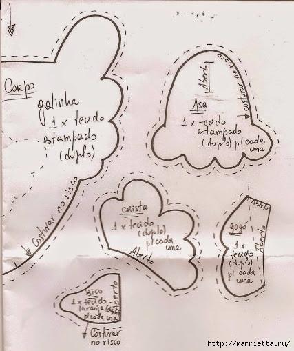Шьем петушков и курочек. Много идей и выкроек (70) (427x509, 136Kb)
