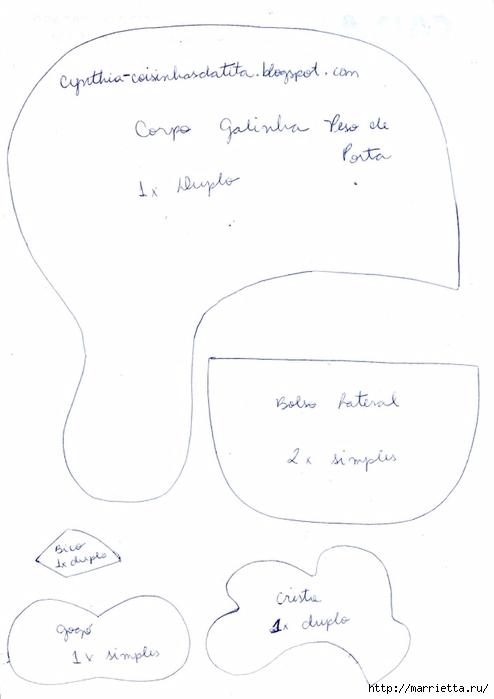 Шьем петушков и курочек. Много идей и выкроек (85) (494x699, 97Kb)