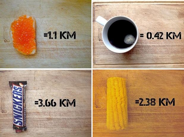 Калорийность продуктов в километрах - забавно, но убедительно!