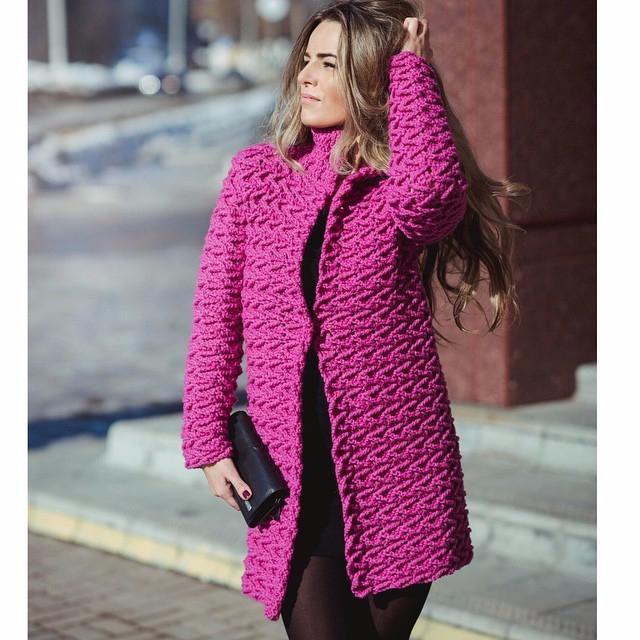 Женское пальто крючком