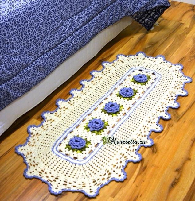 Прикроватный коврик с розочками крючком. Схема (2) (635x655, 611Kb)