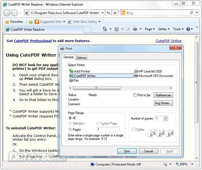 Конвертация и печать в CutePDF Writer, бесплатной PDF программе
