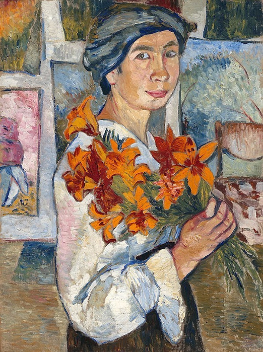 Автопортрет с жёлтыми лилиями. 1907(522x700, 550Kb)