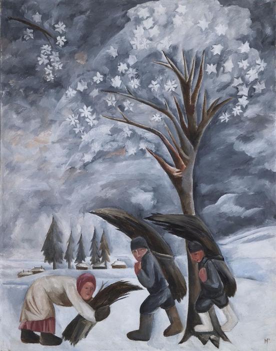 Зима. Сбор хвороста (552x700, 379Kb)