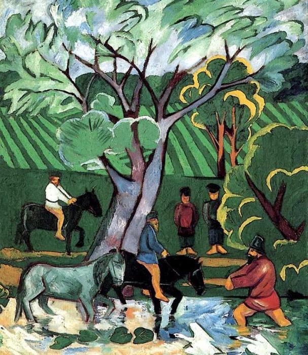 Купание лошадей, 1911 (607x700, 556Kb)
