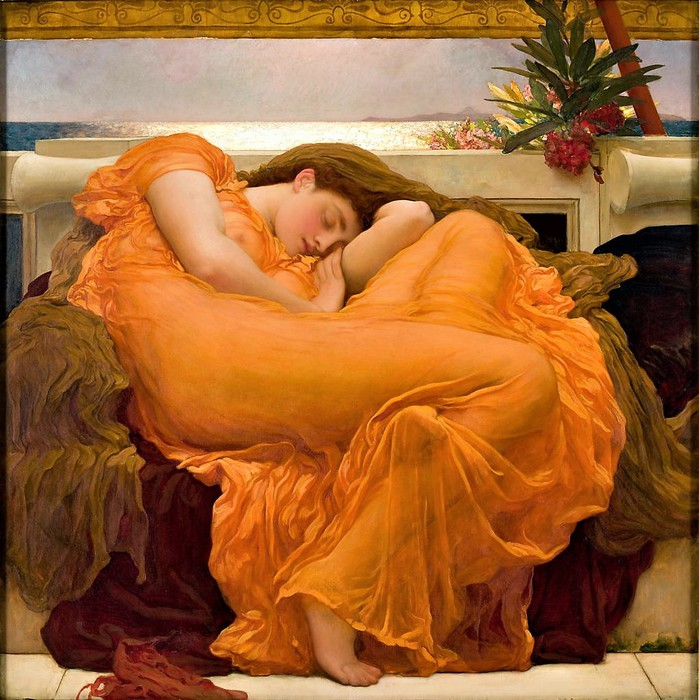 Frederick Leighton    Flaming June    c 1895  Пламенеющий  июнь (699x700, 140Kb)