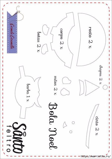 Новогодние игрушки из фетра. Шаблоны (12) (452x640, 128Kb)
