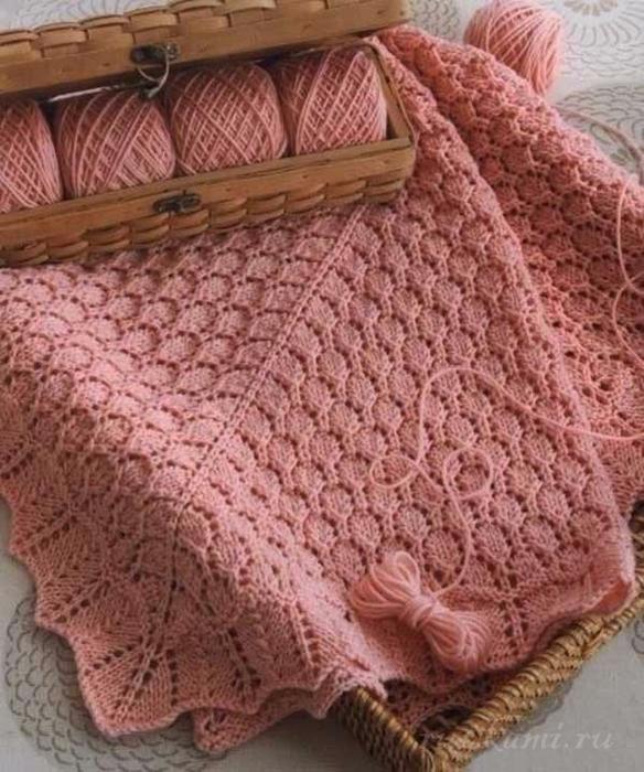 Вязание на спицах ажурное покрывало