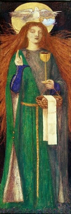 1857_Девица святого Грааля (The Damsel of Sanct Grael)_бумага, акварель_34.9 х 12.7_Лондон, музей Тейт (231x700, 84Kb)