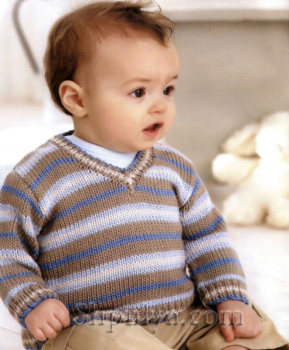 Детский пуловер в полоску спицами, пуловер для малыша спицами описание схема, пуловер для мальчика 0-6 лет спицами, вяжем детям, вязание для девочек спицами, вязание для малышей, сайт о вязании, купить пряжу, /5557795_1657_1 (579x700, 159Kb)