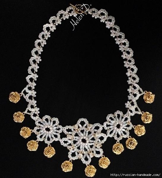 Нарядное ожерелье из бисера. Схема (2) (546x600, 200Kb)