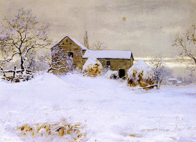 Зимний деревенский пейзаж. (653x474, 415Kb)