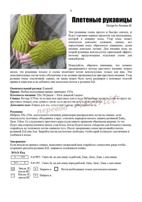 Схемы для вязания митенки спицами 756
