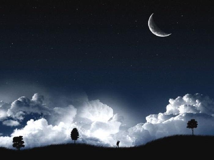 ночь серп луны (700x525, 150Kb)