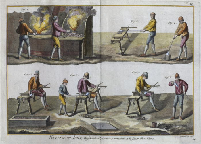 Denis Diderot - Glassblowing, illustration from the 'Encyclopedie des Sciences et Metiers' by Denis Diderot (18th century) (700x502, 613Kb)