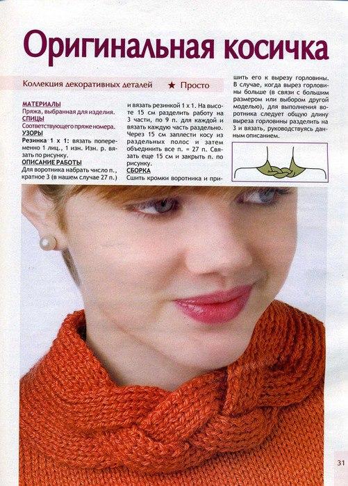 Вязание на спицах горловины изделия