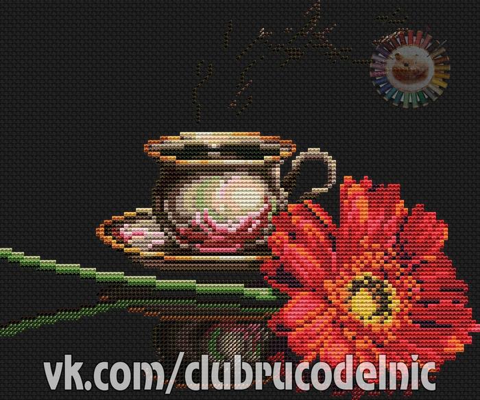 Кофе для нее вышивка схема 28