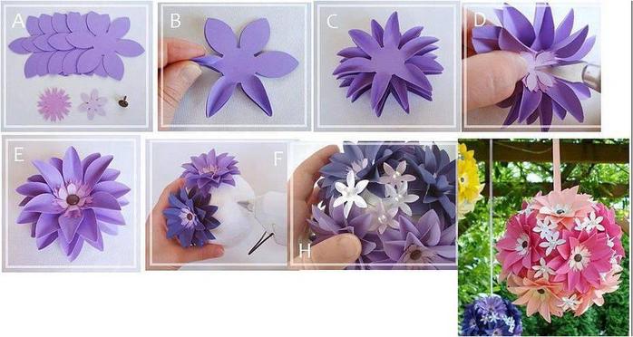 Как сделать из бумаги цветочный шар