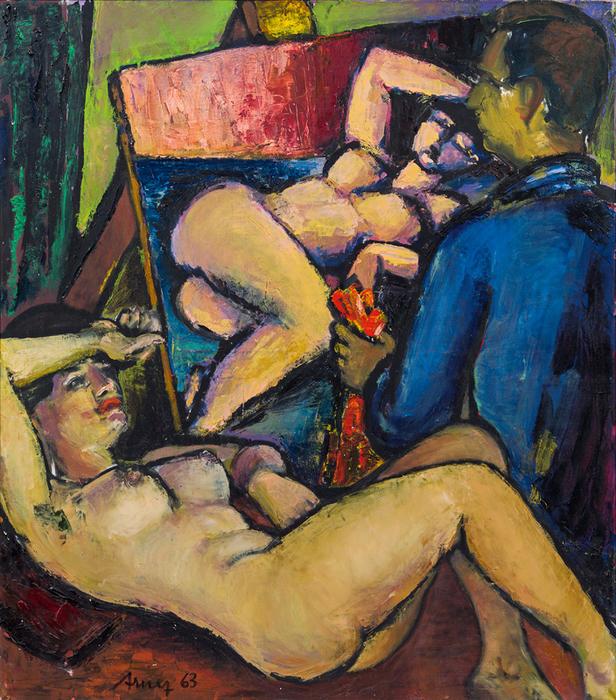 Arnez  Helmut (1929-2004 (Austria) - Painter and model II, 1963 (616x700, 681Kb)