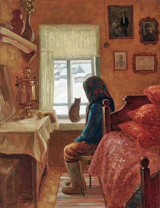 Курзанов Александр Михайлович (Россия, 1938) Одиночество бабы Анюты, 1978 (539x700, 120Kb)