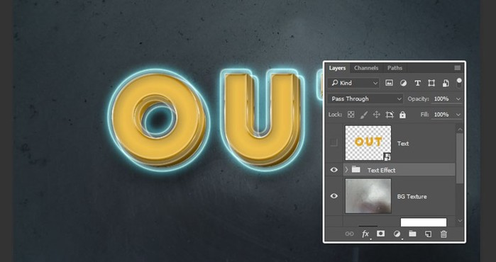 Создаем 3D светящийся ретро текстовый эффект в Adobe Photoshop