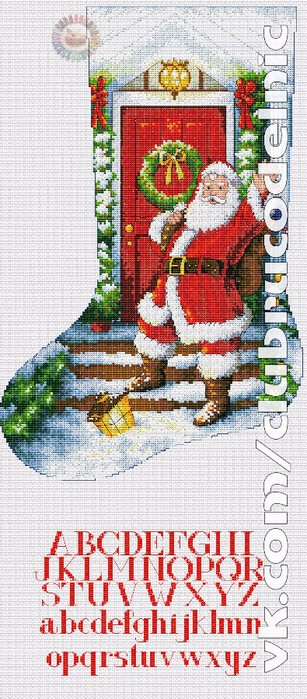 Welcome Santa Stocking (307x700, 385Kb)