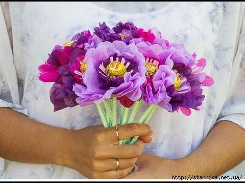 Цветы из гофрированной бумаги своими руками из чупа чупсов