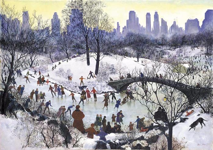 Agnes Tait (1894 - 1981) - Skating in Central Park, 1934.   fig5_lg (700x492, 461Kb)